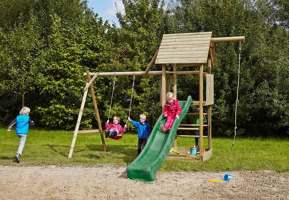 Dein Spielplatz Spielturm mit Holzdach und Wellenrutsche, grün »Obelix mit Holzdach«