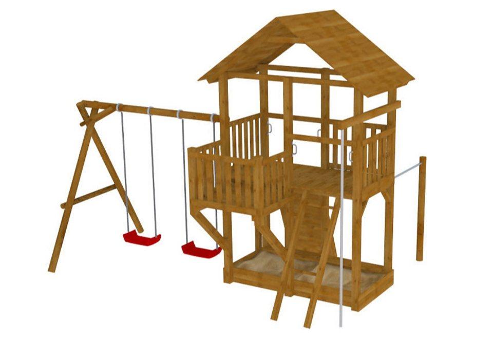Dein Spielplatz Spielturm aus Holz mit Doppelschaukel »Pirate & Princess 11« in natur