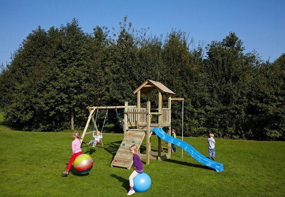 Dein Spielplatz Spielturm mit Sandkasten und Wellenrutsche, blau »Pirate & Princess 5« in natur