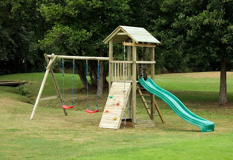 Dein Spielplatz Spielturm mit Wellenrutsche, grün »Pirate & Princess 6« in grün