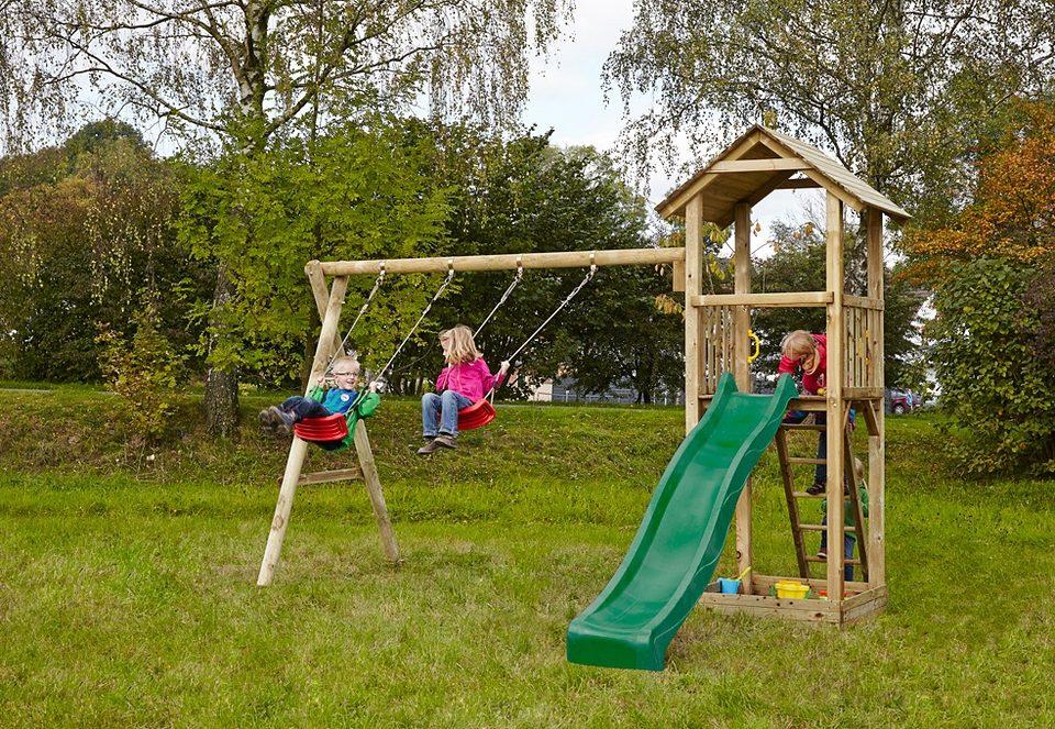 Dein Spielplatz Spielturm mit Sandkasten, Schaukel und Rutsche, grün »Pirate & Princess 3«.
