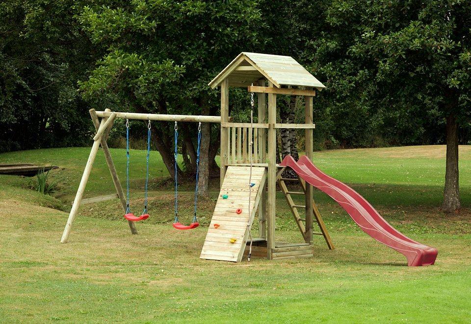 Dein Spielplatz Spielturm mit Wellenrutsche, rot » Pirate & Princess 6«. in rot