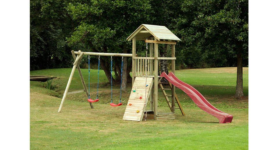 Dein Spielplatz Spielturm mit Wellenrutsche, rot » Pirate & Princess 6«.