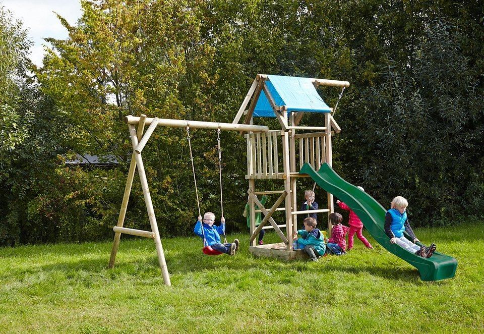 Dein Spielplatz Spielturm mit Wellenrutsche, grün »Asterix mit Planendach« in natur