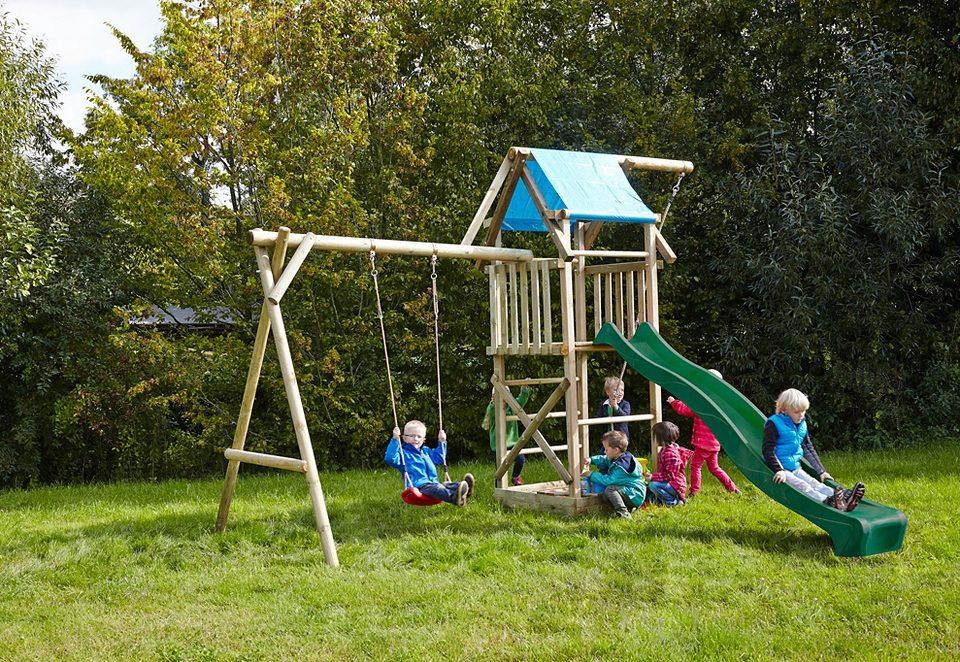 Dein Spielplatz Spielturm mit Wellenrutsche, grün »Asterix mit Planendach«