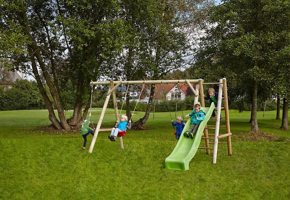 Dein Spielplatz Schaukel mit Knotenseil und Wellenrutsche, hellgrün, »Doppelschaukel Leni Classic