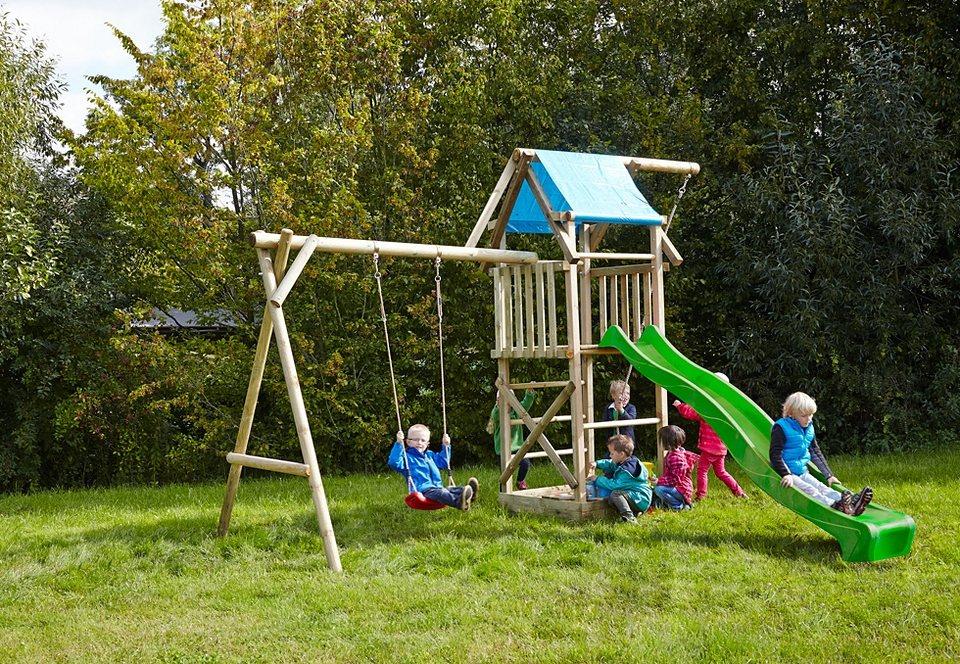 Dein Spielplatz Spielturm mit Schaukel und Wellenrutsche »Asterix mit Planendach« grün in natur