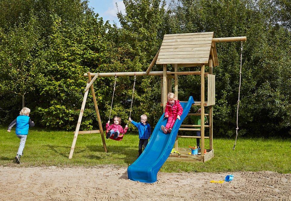 Dein Spielplatz Spielturm aus Holz mit Leiter, ohne Wellenrutsche »Obelix mit Holzdach«