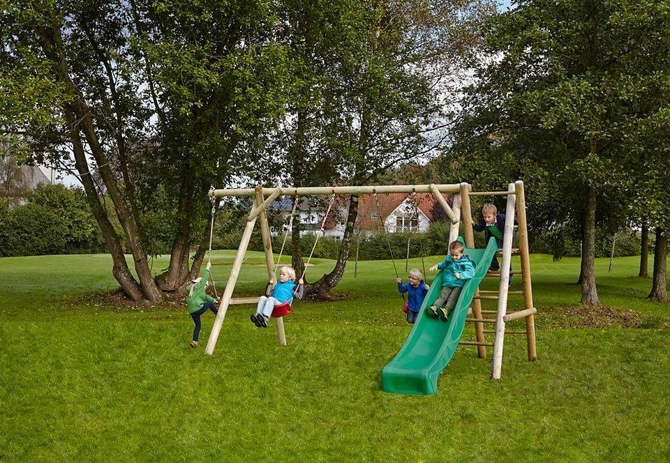 Dein Spielplatz Schaukel mit Knotenseil und Wellenrutsche, grün »Doppelschaukel Leni Classic« in natur
