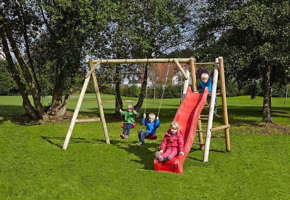 Dein Spielplatz Schaukel, rot »Doppelschaukel Justin mit Wellenrutsche« in natur