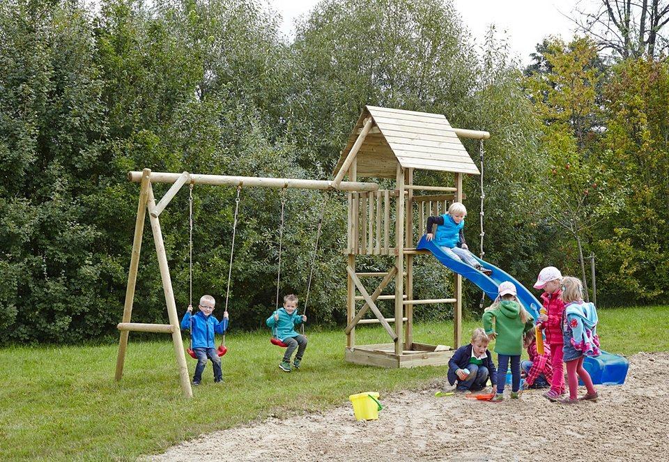 Dein Spielplatz Spielturm mit Sandkasten und Holzdach, ohne Wellenrutsche »Obelix XL«