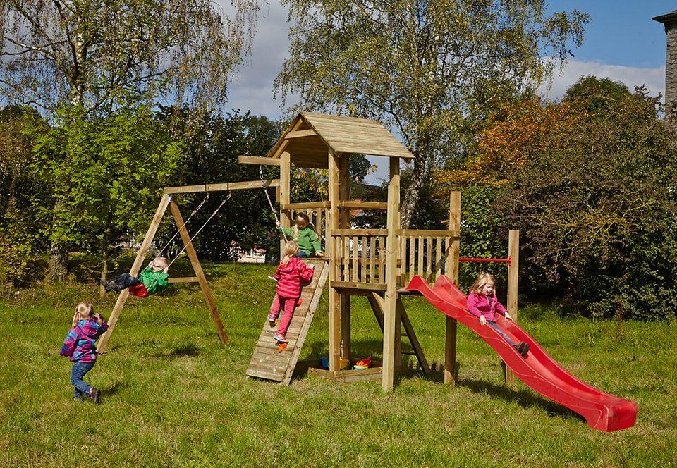 Dein Spielplatz Spielturm mit Sandkasten, Kletterwand und Rutsche, rot »Pirate & Princess 1«
