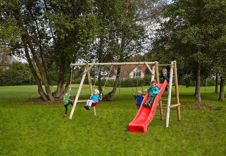 Dein Spielplatz Schaukel, rot »Doppelschaukel Leni Classic mit Podest und Wellenrutsche«. in natur