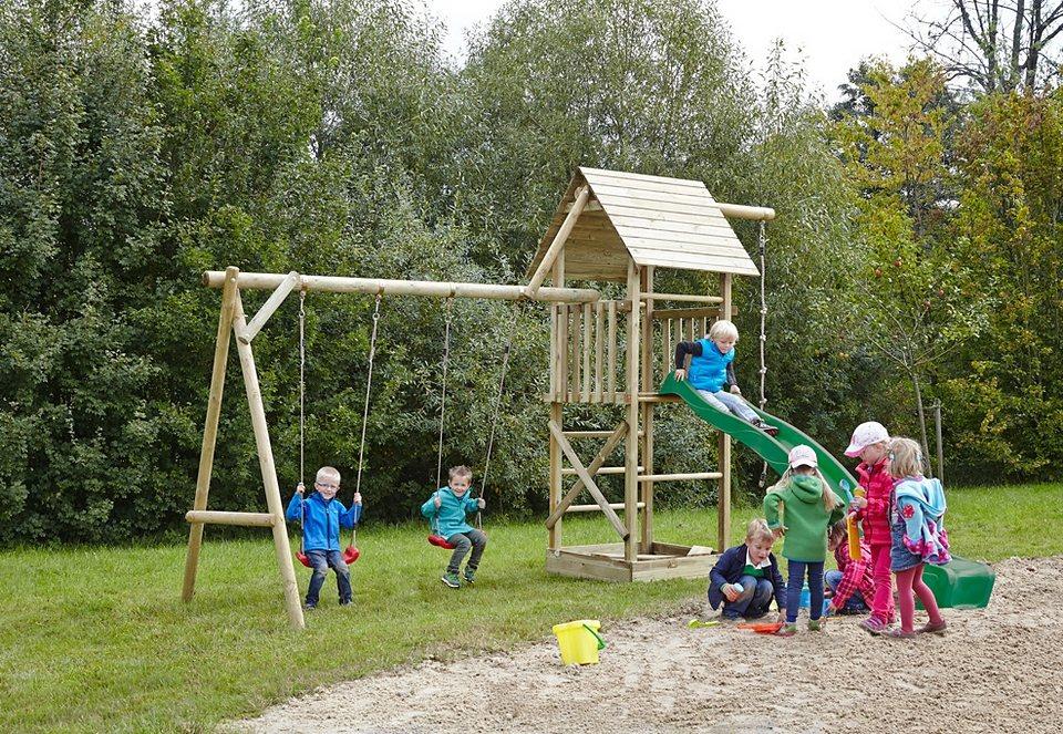 Dein Spielplatz Spielturm mit Doppelschaukel und Wellenrutsche, grün »Obelix XL mit Holzdach« in natur
