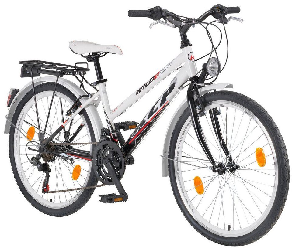 Citybike Damen »WILD CAT Lady«, 24/26/28 Zoll, 18 Gang, V-Bremsen in weiß