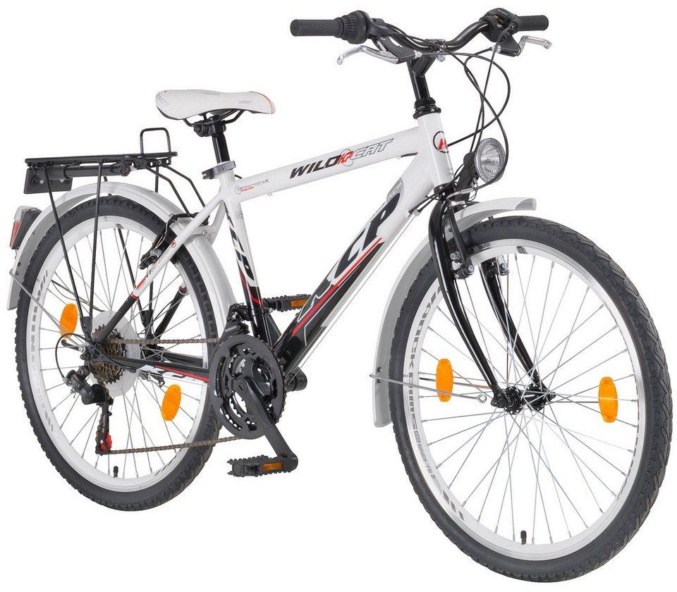 Citybike Herren »WILD CAT Gent«, 24/26/28 Zoll, 18 Gang, V-Bremsen in weiß