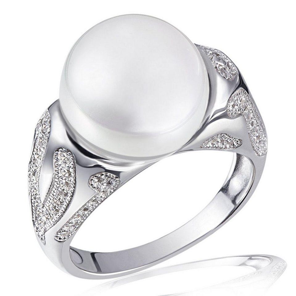 Averdin Damenring White Perl 925/- Sterlingsilber 1 Glasperle 81 weiße in silberfarben