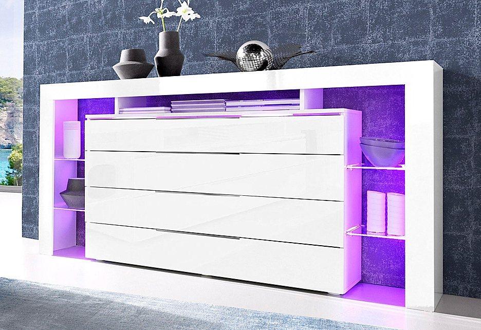 roomed Sideboard, Breite 163 cm in weiß Hochglanz