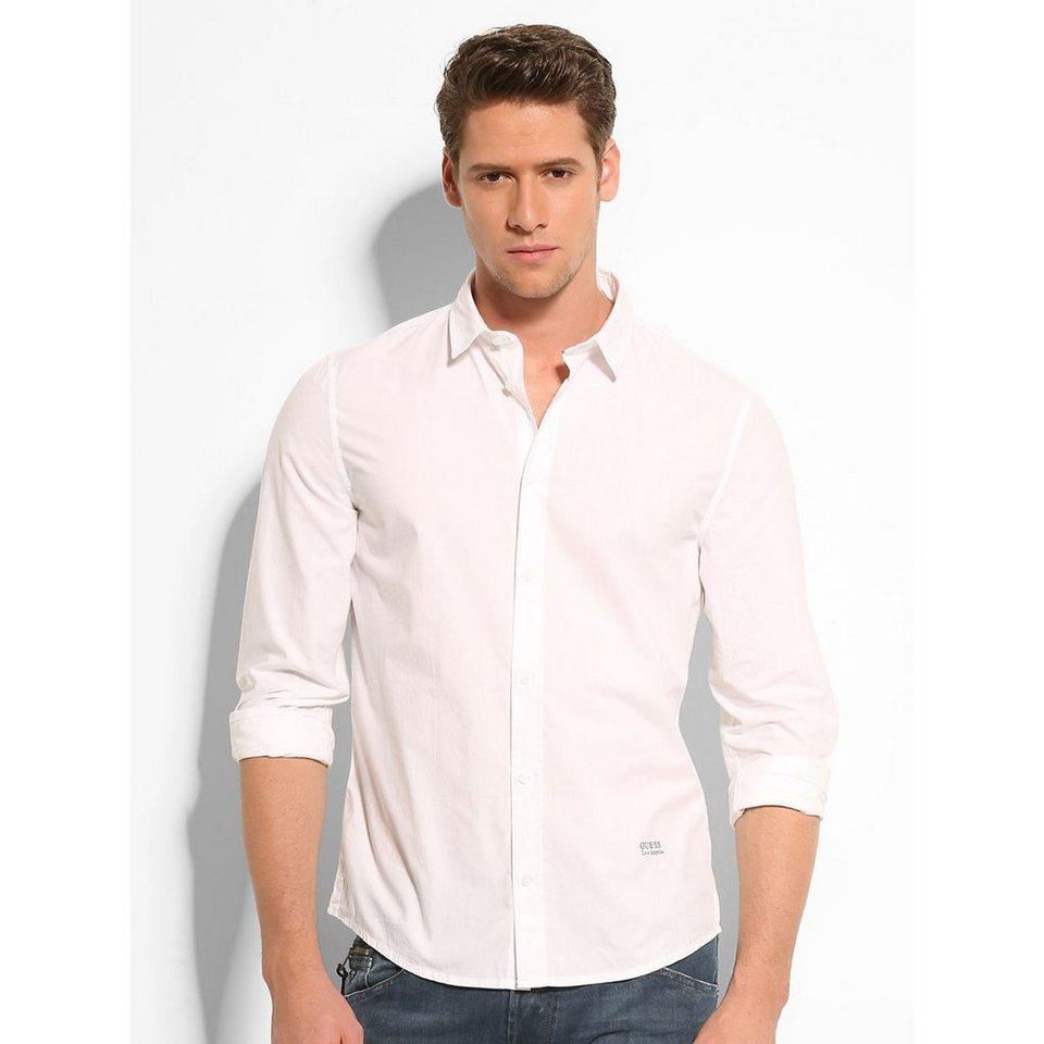 Guess Hemd »Classic Poplin Cotton« in Weiß
