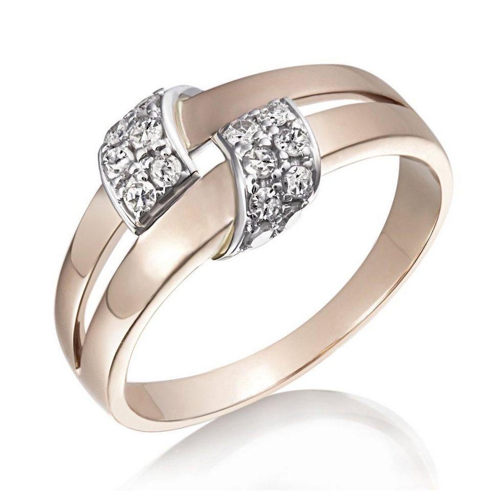 goldmaid Damenring Bicolor Schlaufe 585/- Rotgold 16 Diamanten 0,26 ct. in bicolor