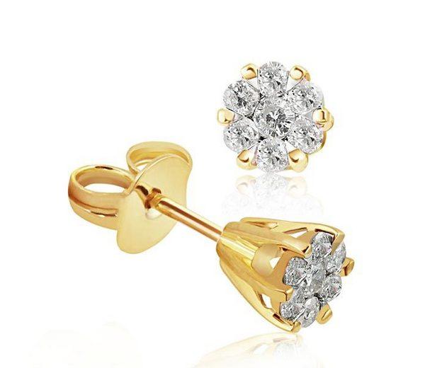 goldmaid Paar Ohrstecker Glamour Bicolor 585/- Gold 14 Brillanten 0,34 ct