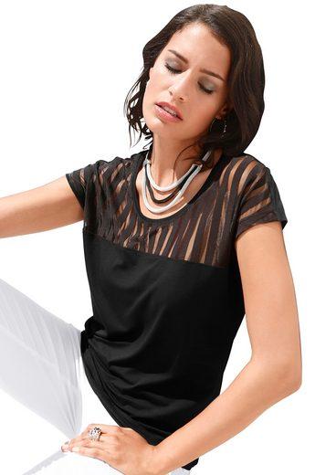 Création L Shirt mit gestreifter, leicht transparenter Chiffon-Partie