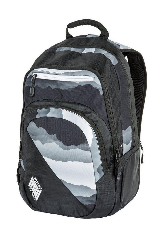 Nitro Schulrucksack, »Stash - Mountains Black/White« in bunt