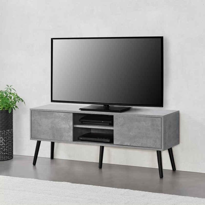 en.casa Lowboard, TV-Board, »Eskilstuna« Fernsehtisch Sideboard Kommode 120x29,5x46,5cm Betonfarben