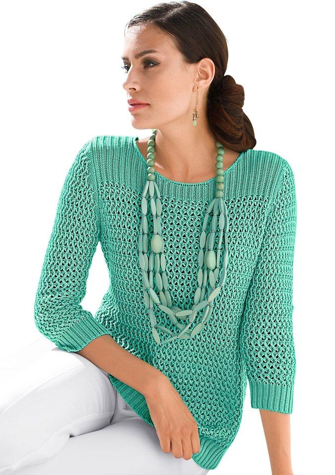 Alessa W. Pullover im Strukturmuster in smaragd