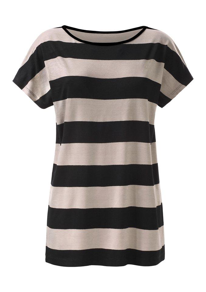 Ambria Longshirt im beliebten Streifenmuster in schwarz-taupe-gestreift