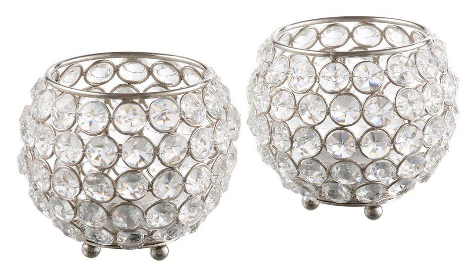 Teelichthalter, Home affaire, »Kristall« (2er Set) in silber
