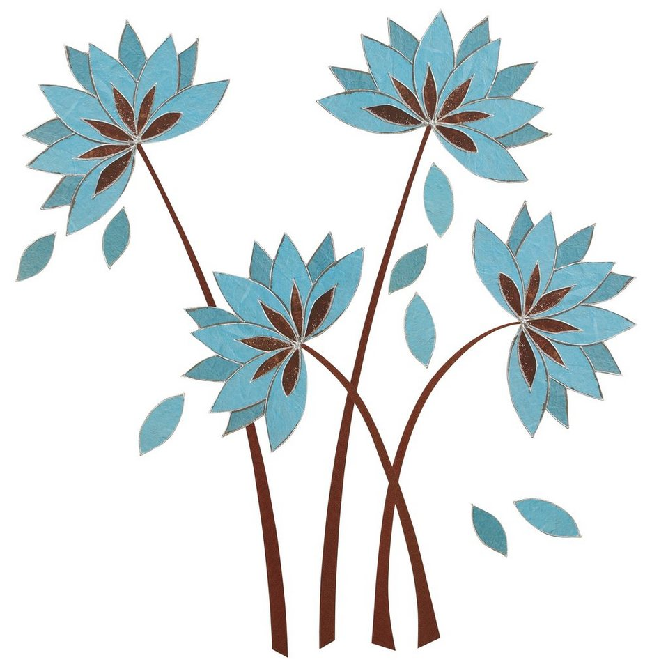 Deko-Sticker, EUROGRAPHICS, »Teal Lotus Flowers« in blau-metallic