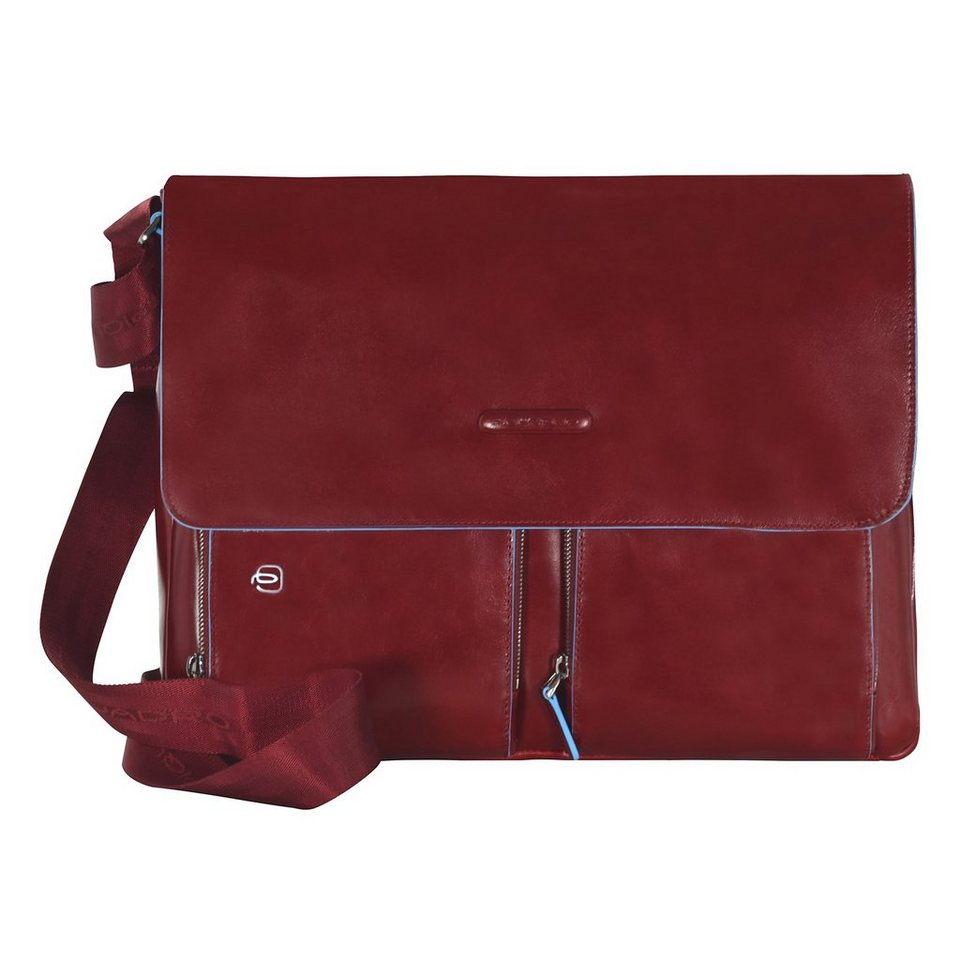 Piquadro Blue Square Messenger Leder 37 cm Laptopfach in red