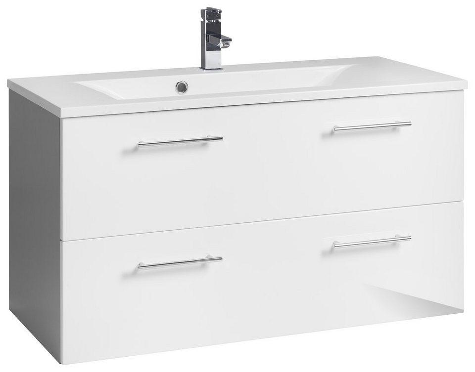 Waschbeckenunterschrank, Kesper, »Sierra« in alufarben-weiß