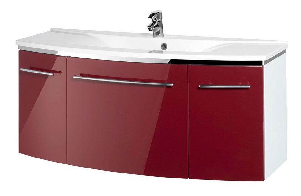 Waschtisch »OPTIpremio 2043«, Breite 122 cm, (2-tlg.) in bordeaux-rot/weiß matt
