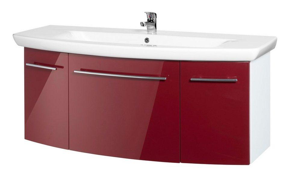 Waschtisch »OPTIpremio 2043«, Breite 130,8 cm, (2-tlg.) in bordeaux-rot/weiß matt