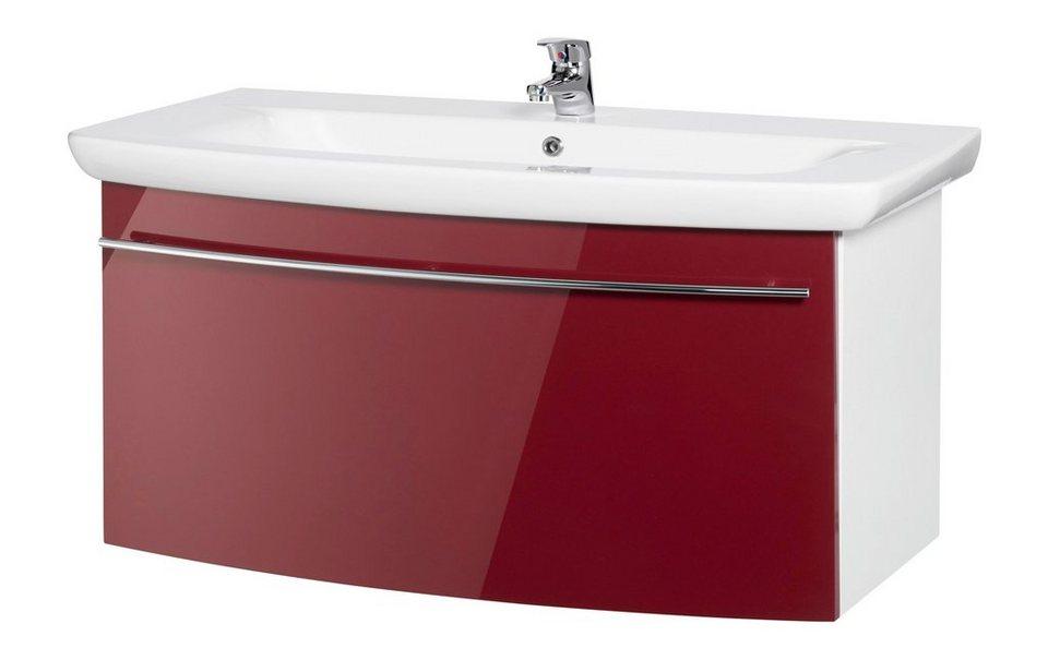 Waschtisch »OPTIpremio 2043«, Breite 100,8 cm, (2-tlg.) in bordeaux-rot/weiß matt