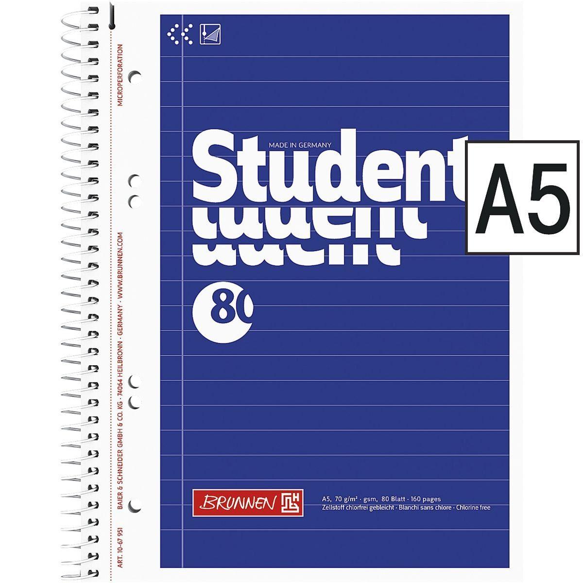BRUNNEN Collegeblock A5 liniert, holzfreies Papier (Aqua pro natura) »Student«