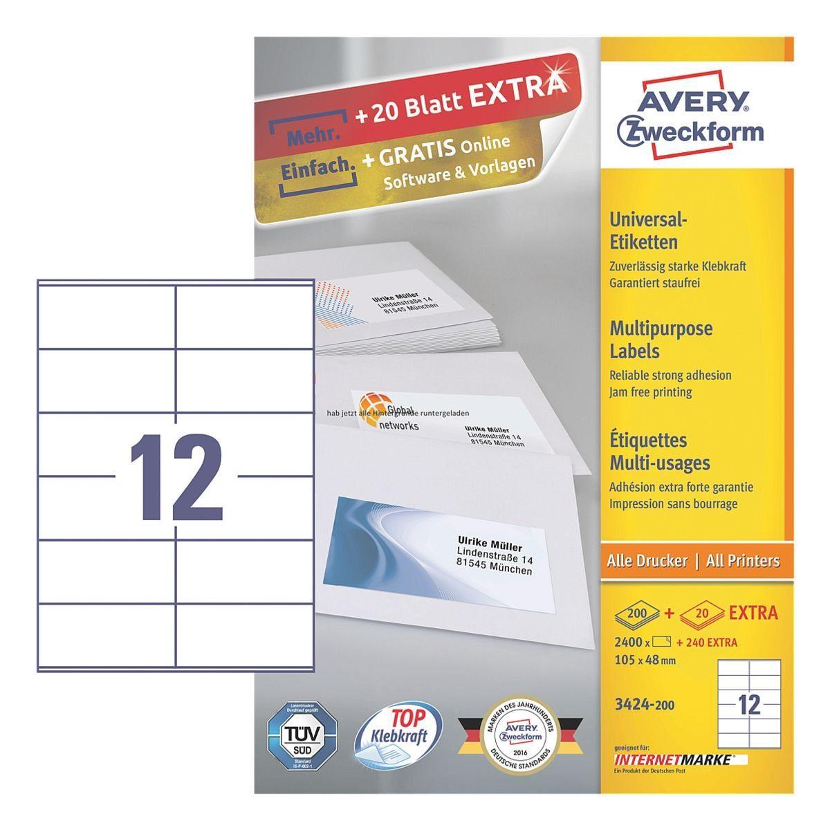 ZWECKFORMAVERY 2640er-Pack Universal Klebeetiketten »3424-200«