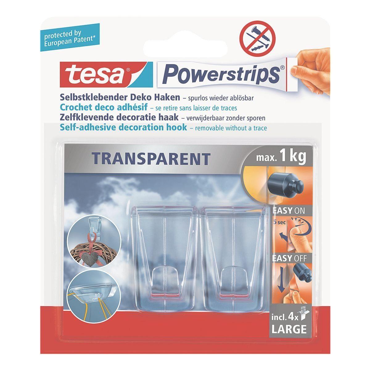 Tesa Powerstrips 58813 bis 1 kg »Transparent Deko-Haken«