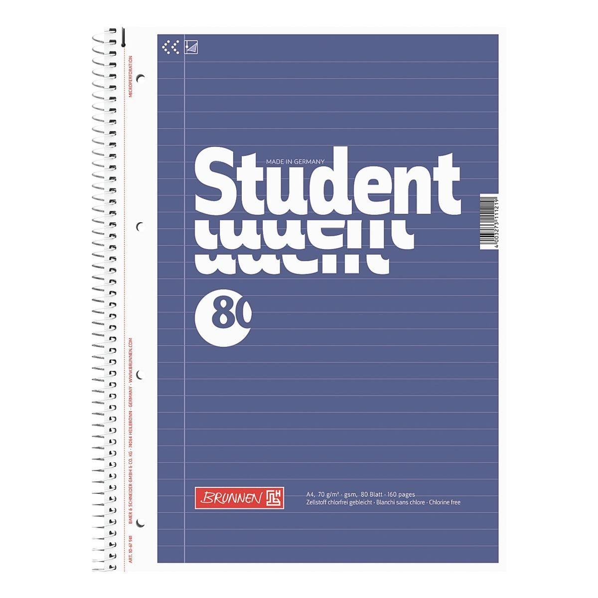 BRUNNEN Collegeblock A4 liniert, holzfreies Papier (Aqua pro natura) »Student«