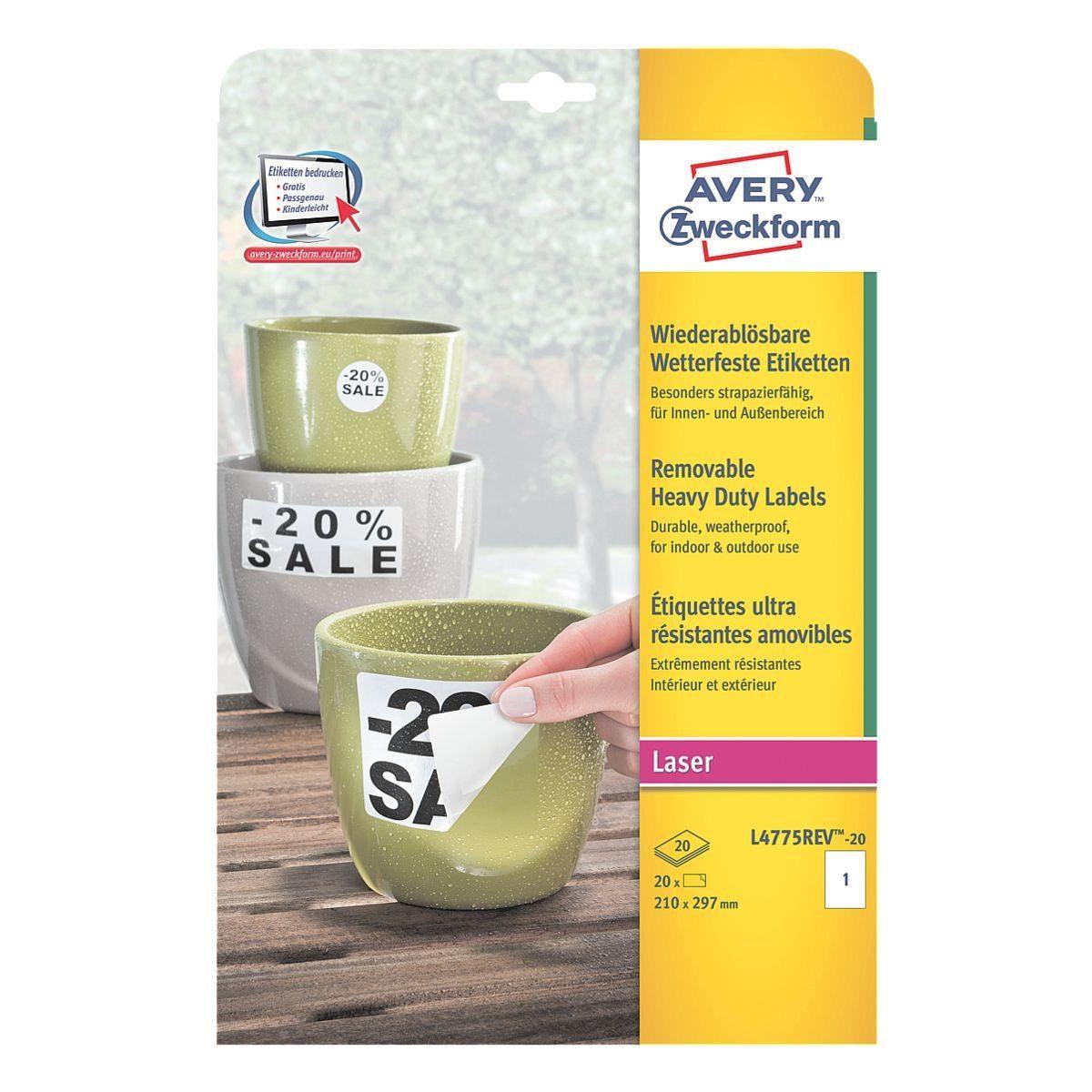 ZWECKFORMAVERY 20er-Pack Folien-Etiketten »L4775REV-20«