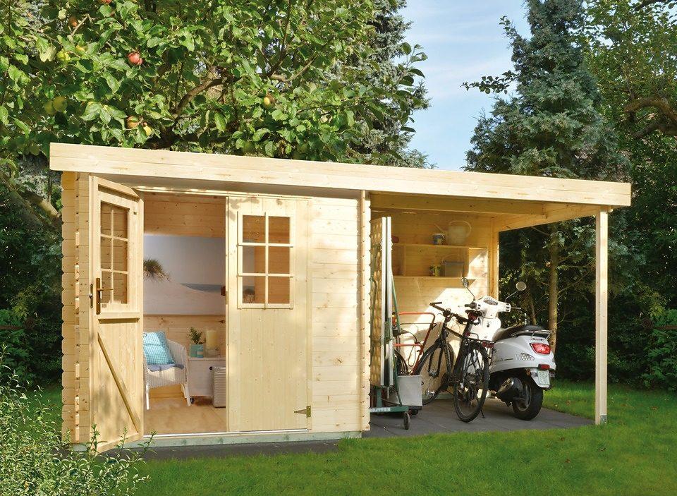 LUOMAN Set: Gartenhaus »Lillevilla 329«, BxT: 386x226 cm, Anbaudach mit Rückwand und Fußboden