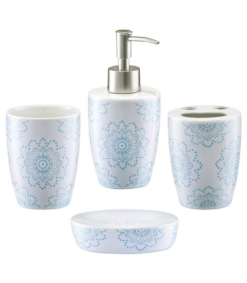 Bad-Accessoire-Set »Floral«, 4-teilig in weiß