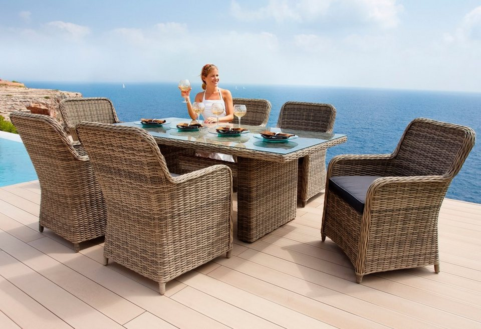 13-tgl. Gartenmöbelset »Korsika«, 6 Sessel, Tisch 200x100 cm, Polyrattan, braun in braun