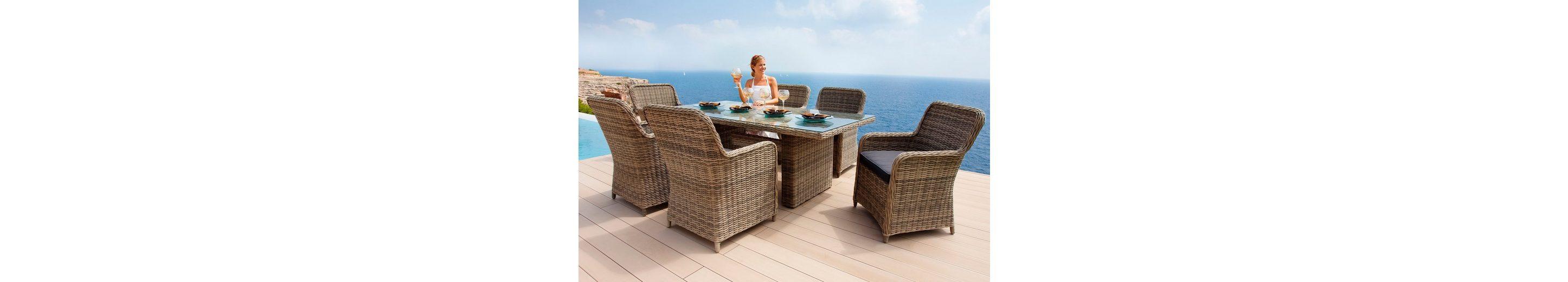 13-tgl. Gartenmöbelset »Korsika«, 6 Sessel, Tisch 200x100 cm, Polyrattan, braun