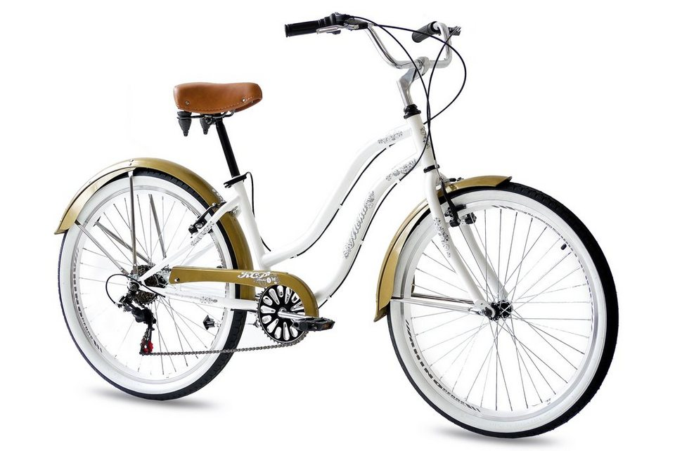 Beachcruiser »ALOHA Lady 2.0«, 26 Zoll, 6 Gang, V-Bremsen in weiß