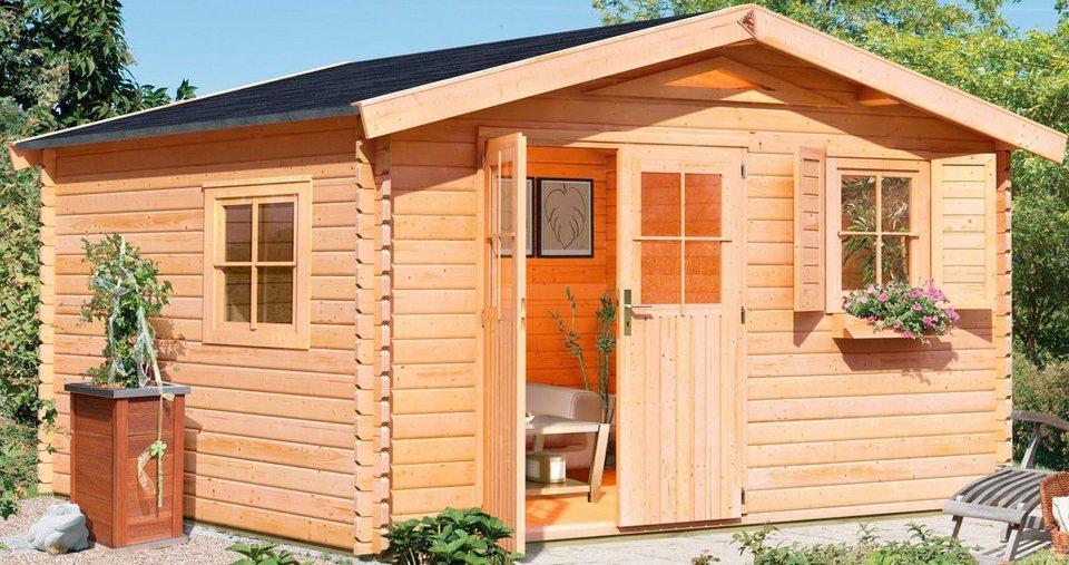 Karibu Set: Gartenhaus »Köpenick 7«, BxT: 372x462 cm in natur