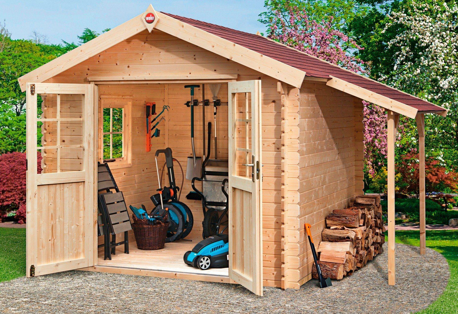 WEKA Gartenhaus »Jens Gr. 1«, Gesamtmaß (BxT): 366x230 cm, Inkl. Anbau + Fußboden