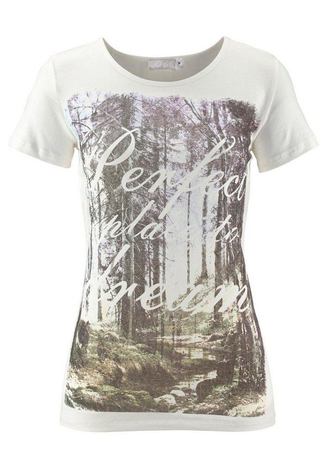 Cheer T-Shirt mit fantasievollem Aufdruck in wollweiß-lila-grün-braun-bedruckt